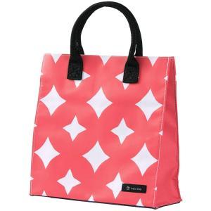はこバッグ hacobag 七宝つなぎ S トートバッグ 赤 箱型 丈夫 手提げバッグ 三輪 シンプル エコバッグ|riguru-online