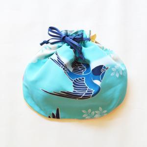 ほにや 半円巾着 つばめ みずいろ ポリエステル 小物入れ 巾着袋 和風  和装  日本製 よさこい ギフト riguru-online
