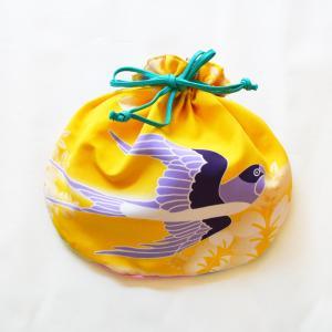 ほにや 半円巾着 つばめ 黄色 ポリエステル 小物入れ 巾着袋 和風  和装  日本製 よさこい ギフト riguru-online