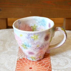 工房ゆずりは マグカップ 色彩花 瀬戸焼 花柄 優しい感性 女性だけの工房 手描き 可憐 彩り豊か マグ 陶器 ゆずりは  riguru-online