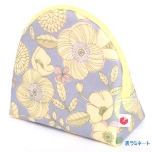 sussu49  スッスポーチ P-floweryellow SAZARE 化粧ポーチ 花柄 黄色 スッとしまえる スッととりだせる 簡単 ラウンド型 ラミネート加工 |riguru-online