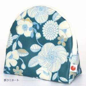 sussu50  スッスポーチ P-flowerwhite SAZARE 化粧ポーチ 花柄 白色 スッとしまえる スッととりだせる 簡単 ラウンド型 ラミネート加工 |riguru-online
