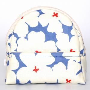sussu57  スッスポーチ p-whiteblue SAZARE 化粧ポーチ 花 ブルー地 綿ラミネート加工 コンパクト スッとしまえる スッととりだせる ラウンド型 |riguru-online