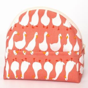 sussu60  スッスポーチ p-duckorange SAZARE 化粧ポーチ あひる ピンクオレンジ地 綿 コンパクト スッとしまえる スッととりだせる ラウンド型 簡単|riguru-online