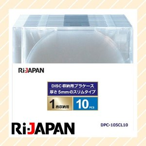 ブルーレイディスク DVD CD ケース 1枚収納 10枚組 5mm スリムタイプ クリア DPC-105CL10|rijapan