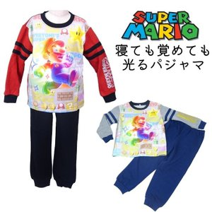 スーパーマリオ 光るパジャマ 長袖パジャマ 子供パジャマ プレゼント 2色 110cm/120cm/130cm  長袖 寝巻 男子 光る|rinasora