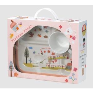 シェ・モワ メラミン4点セット ピンク キッチンウェア ギフトセット 子供食器|rinasora