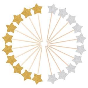 ROSENICE ケーキトッパー 結婚式 誕生日 宴会 パーティー装飾(金と銀各色15枚)|rinco-shop