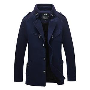 (アイラブコス)iLoveCos JP 厚手 冬服 保温性抜群 メンズコート pコート カジュアル ジャケット ダッフルコート (M、 ネイビー)|rinco-shop