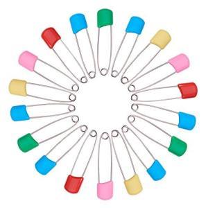BENECREAT 100本セット 2インチ ロック安全ピン カラープラスティック安全ピン、赤ちゃん安全ピン、プラスティックおむつピン|rinco-shop