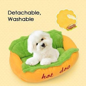 Bwiv ペットベッド 犬/猫 寝袋 ペットソファ ペットハウス ホットドッグ 面白い クッション 冬夏 暖かい休憩所 洗える 中敷き付き L|rinco-shop