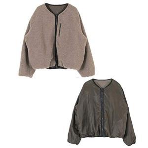 Imasu レディース リバーシブル ノーカラーボアブルゾン ジャケット 秋冬 アウター 暖かい (ブラウン)|rinco-shop