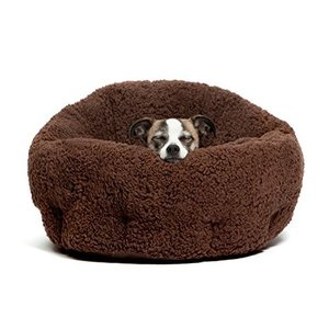 洗える ペット用 ベッド/クッション 小型犬 猫 ふわモコ 伸縮性に富んだ暖かいベッド (茶色)|rinco-shop