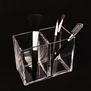 RiLiKu アクリルメイクブラシ収納ボックス 2段透明ペン立て 卓上文房具収納ボックス|rinco-shop