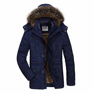 JOSCA モッズコート メンズ ダウンジャケット コート 中綿入れ フード付き ファー付き 裏起毛 厚手 防寒防風 M-6XL大きいサイズ アウター|rinco-shop