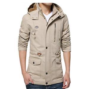JinsX メンズ ダウンコート メンズ 中綿 冬 分厚い 裏起毛 ダウンジャケット 防寒 防風 厚手 アウトドア ファー付き 冬服 mibai XL|rinco-shop