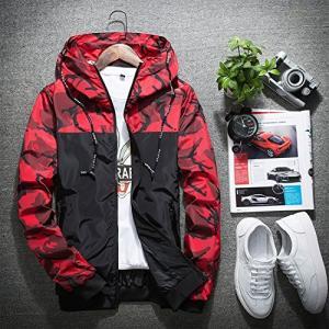 メンズ ナイロンウィンドブレーカー 迷彩 防風 登山カモフラ スポーツ アウトドア メンズ 赤色-3XL|rinco-shop