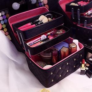 FYX メイクボックス コスメボックス 大容量 化粧品収納ボックス 収納ケース 小物入れ 大容量 取っ手付 (ブラック)|rinco-shop