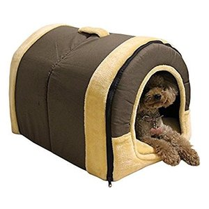 MANATSULIFEペットハウス 犬 猫 ベッド ドーム型 室内 ハウス 折りたたみ式 ブロック(中M)|rinco-shop