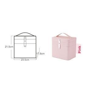 SZTulip メイクボックス コスメボックス 大容量収納ケース メイクブラシ化粧道具 小物入れ 鏡付き 化粧品収納ボックス (ピンク)|rinco-shop