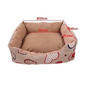 POBO ペットベッド 洗える 防湿 滑り止め 小中型ペットクッション 四季用ベッド犬猫用 (S、 ハード花柄)|rinco-shop