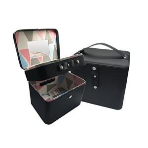 SZTulip コスメボックス メイクボックス 大容量収納ケース メイクブラシ化粧道具小物入れ 鏡付き 化粧品収納ボックス (ブラック)|rinco-shop