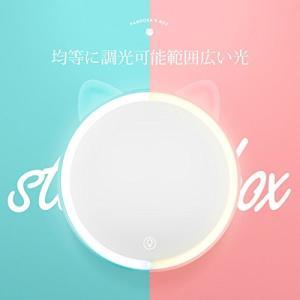maiho 化粧鏡ライト付き 可愛い LED女優ミラー 化粧 卓上鏡 収納ボックス付き タッチパネル 調光可能 無段階調光 2色切替 3倍拡大鏡付き|rinco-shop