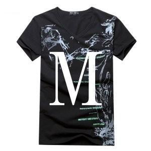 (メイク トゥ ビー) Make 2 Be メンズ Vネック シンプル 半袖 カジュアル Tシャツ MF0307A (黒_Mサイズ)|rinco-shop