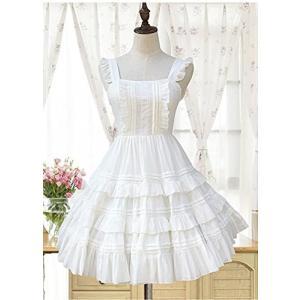 [SeleCreate] ロリータ ジャンパースカート お嬢様 プリンセス風 ドレスワンピース (S〜Mサイズ ホワイト)|rinco-shop