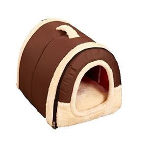 【ケーセブン】Kseven☆ ペットハウス 犬 猫 室内用 ふわふわ ドーム型 可愛い 折り畳み式 (S、 ブラウン)|rinco-shop