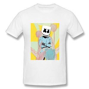 Tシャツ メンズ 半袖 プリント マシュメロ Marshmello ドライ素材 吸水速乾 無地 おしゃれ シンプル 通勤 通学 運動 日常用|rinco-shop
