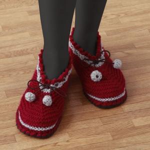 すべりにくい手編みルームシューズエンジL|rindr