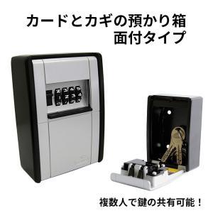 キーボックス ダイヤル式 壁掛け 暗証番号 4桁 大容量 鍵 玄関 おしゃれ カードとカギの預かり箱 面付 AB-KG2-B|ring-g