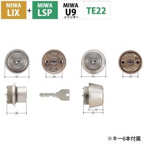 MIWA 美和ロック 鍵 交換用 取替用 U9シリンダー LIX+LSP PE01 TE01 LE01 2個同一キー ST色 MCY-402|ring-g