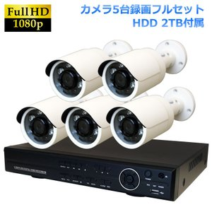 AHD2.0カメラ 返金保証 2メガピクセル 屋外 暗視対応 AHD200万画素 小型赤外線カメラ+8CH 録画機 防犯カメラセット 5台セット|ring-g