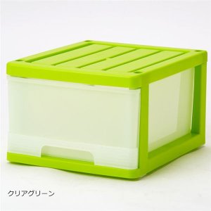 【商品名】 深型 収納ケース/キッチン収納 【6個組 クリアグリーン】 幅34.5cm スタッキング...