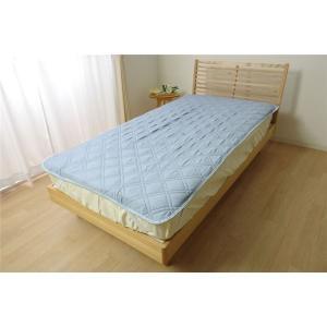 【商品名】 なめらか 敷きパッド/寝具 【ブルー 約100cm×205cm】 シングル 洗える 吸湿...