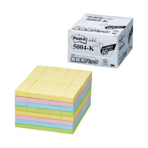 5004-K  【商品名】 3M ポスト・イット 業務用パックふせん 再生紙 75×25mm 4色 ...