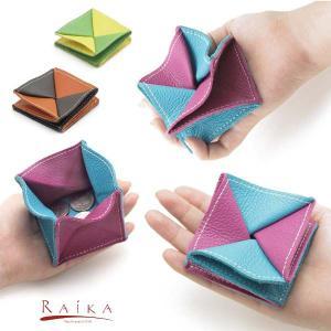 【RAIKA USA】ハンドメイド 折畳式ツートン レザー コインパース|rinkydink