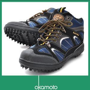作業靴 ピンスパイク オカモト 9609 スパイクシューズ 磯 釣り 幅広 3E ブラックウルフ ス...