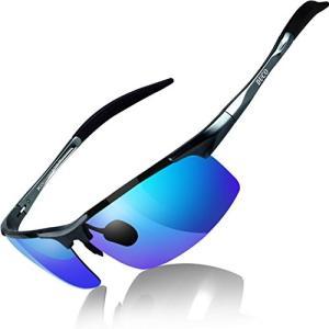 DUCO スポーツサングラス メンズ 偏光サングラス UV400保護 AL-MG合金 超軽量 運転/...