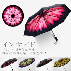 インサイド プリント 傘 日傘 折畳み傘 UVカット 晴雨兼用 軽量 8本骨組 紫外線カット 送料無料 rioty