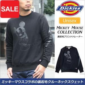 ディッキーズ スウェット Dickies ミッキーマウス 裏起毛プリントトレーナー ブラック  173U30MK08|ripe