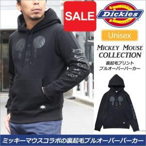 ディッキーズ スウェット Dickies ミッキーマウス 裏起毛プリントプルオーバーパーカー ブラック  173U30MK09|ripe