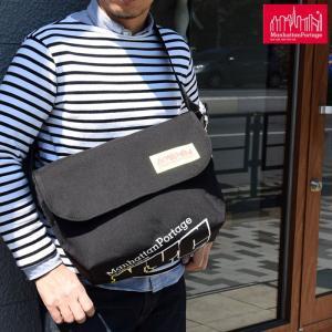 マンハッタンポーテージ Manhattan Portage NYCプリント ヴィンテージ メッセンジャーバッグ PVC  ブラック/ブルー Vintage Messenger Bag|ripe