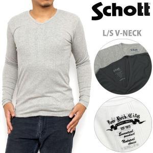 Schott TC RIB L S V-NECK T-SHIRT 全4色 ショット リブ VネックTシャツ [M便 1/1] ripe