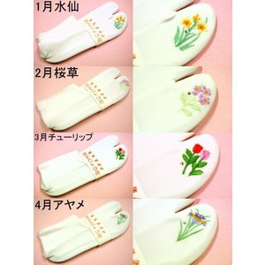 【誕生花】ストレッチ刺繍足袋|riplennetshopping