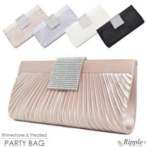 パーティーバッグ クラッチバッグ バッグ 結婚式 ラインストーン プリーツ 2Way ビジュー 二次会 謝恩会|rippleplus-shop