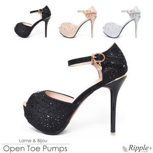 パンプス キャバ サンダル 靴 12cmヒール キャバクラ ラメ&ビジュー アンクルストラップオープントゥパンプス|rippleplus-shop