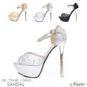 パンプス キャバ サンダル 靴 14cmヒール パンプス キャバクラ キャバ嬢 ハイヒール シースルー×スパンコールサンダル|rippleplus-shop